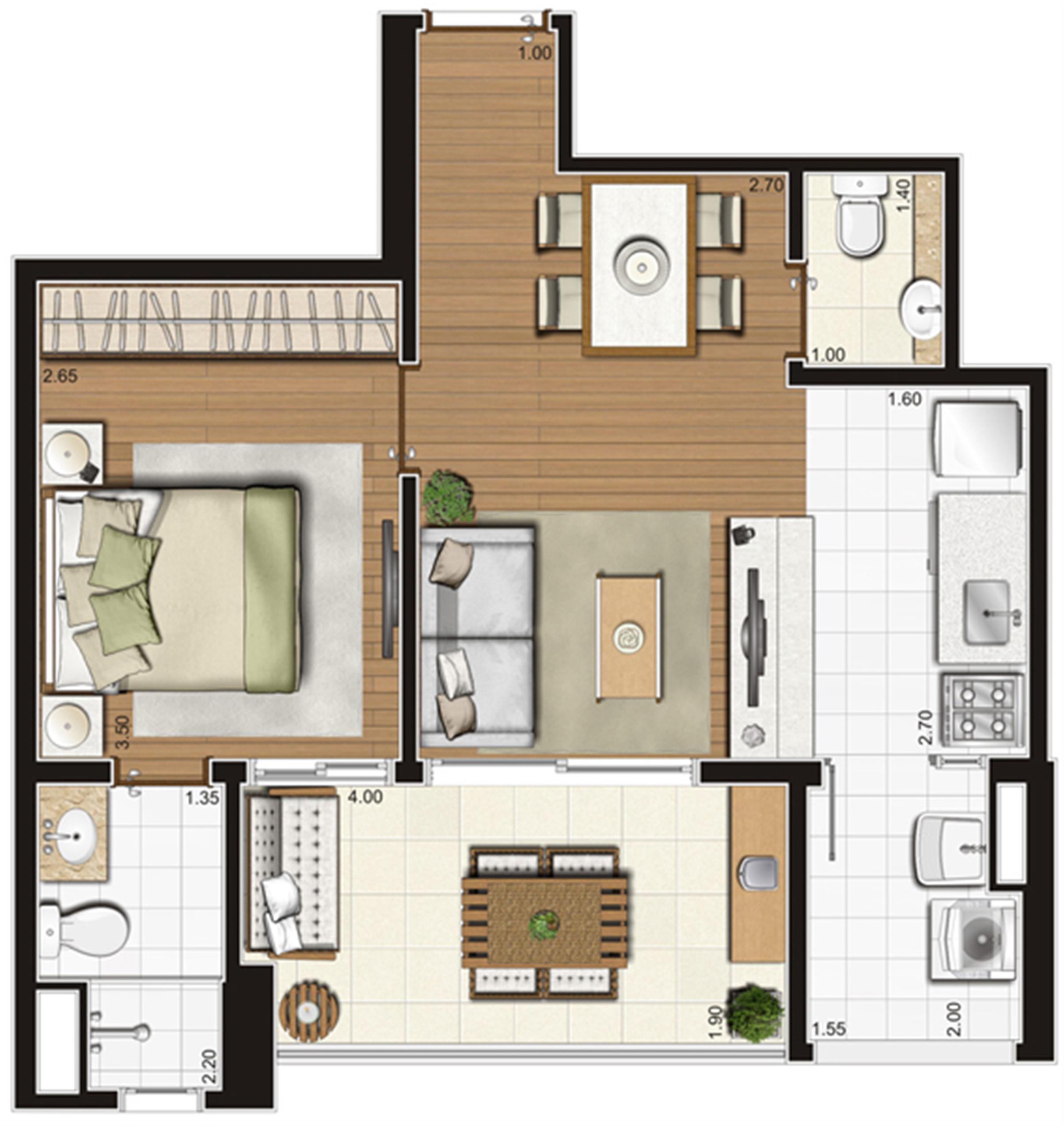 Planta-tipo ilustrada do apartamento de 49 m² privativos, final 6 | Tempo Bello – Apartamento no  Campo Belo - São Paulo - São Paulo