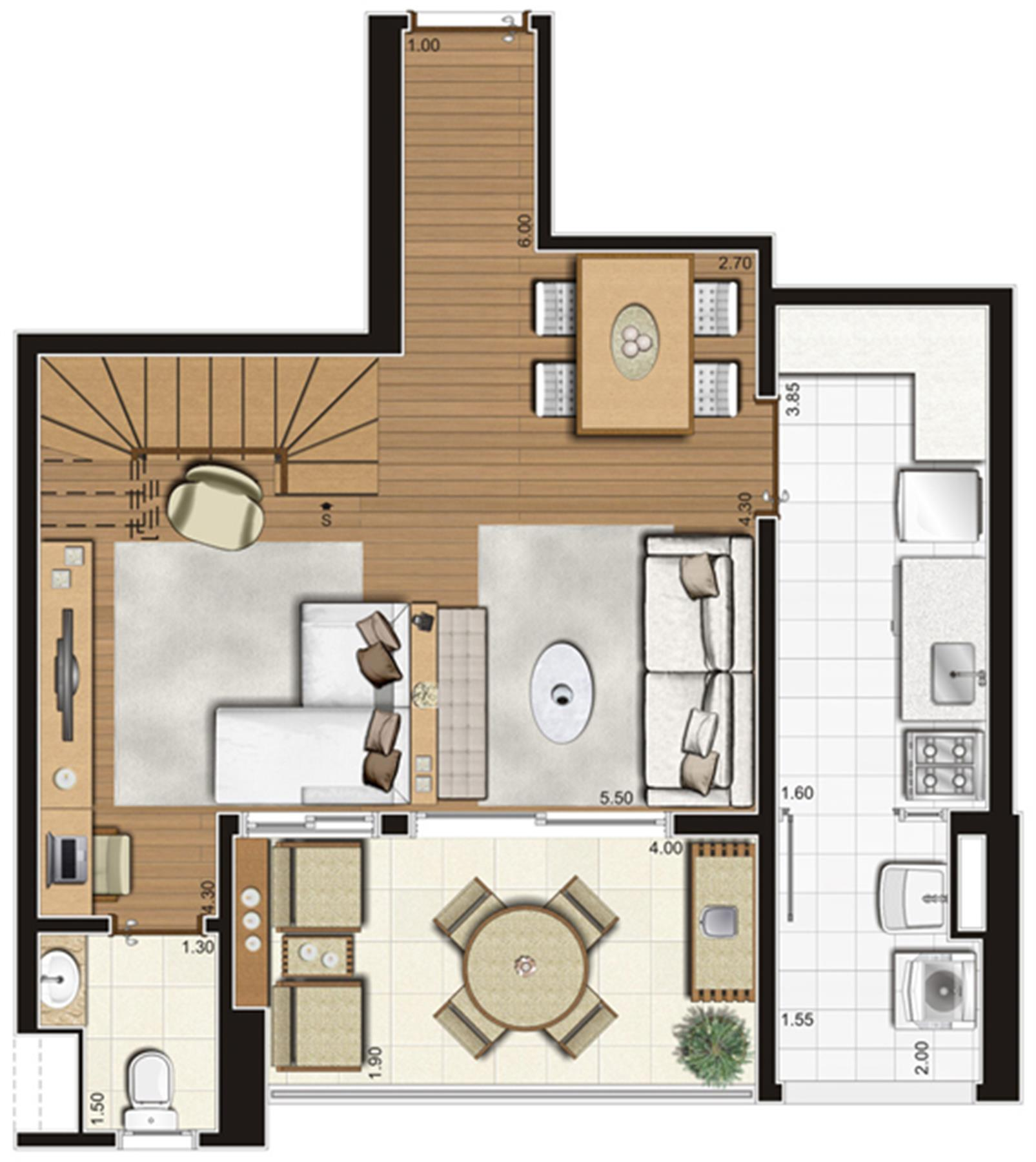 Planta-tipo do pavimento inferior do apartamento duplex de 95 m² privativos, finais 5 e 10 | Tempo Bello – Apartamentono  Campo Belo - São Paulo - São Paulo