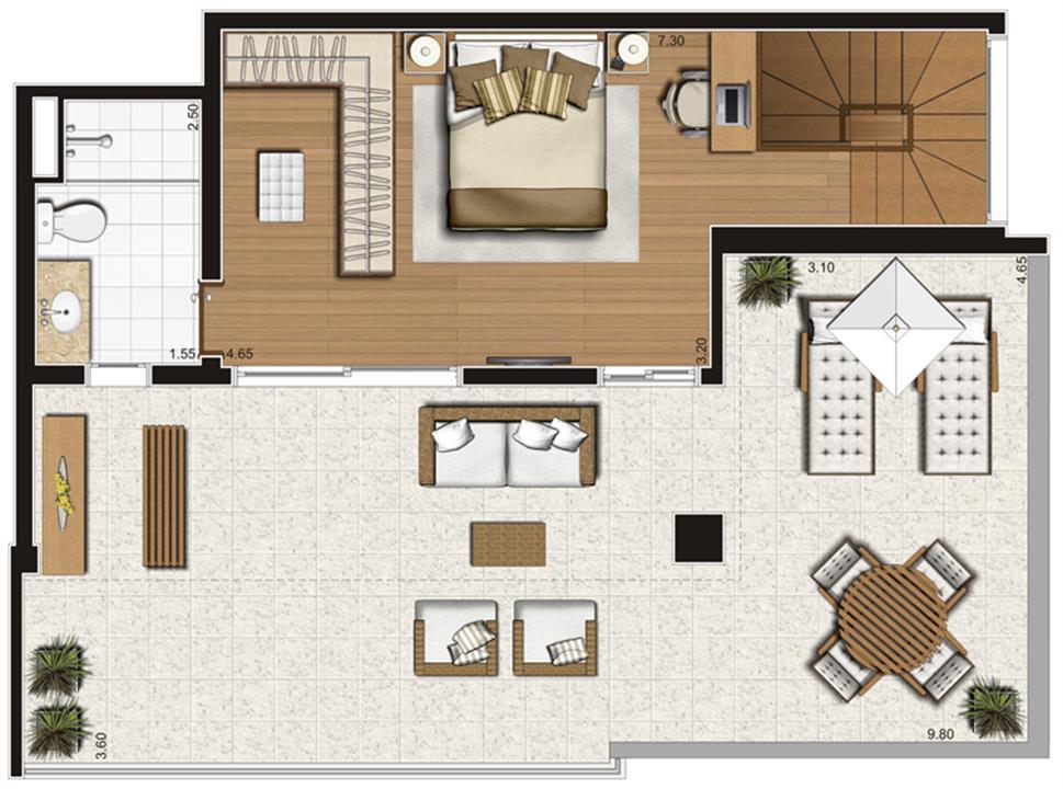 Planta-tipo ilustrada do pavimento inferior do apartamento duplex de 138 m² privativos, finais 1 e 2 | Tempo Bello – Apartamentono  Campo Belo - São Paulo - São Paulo