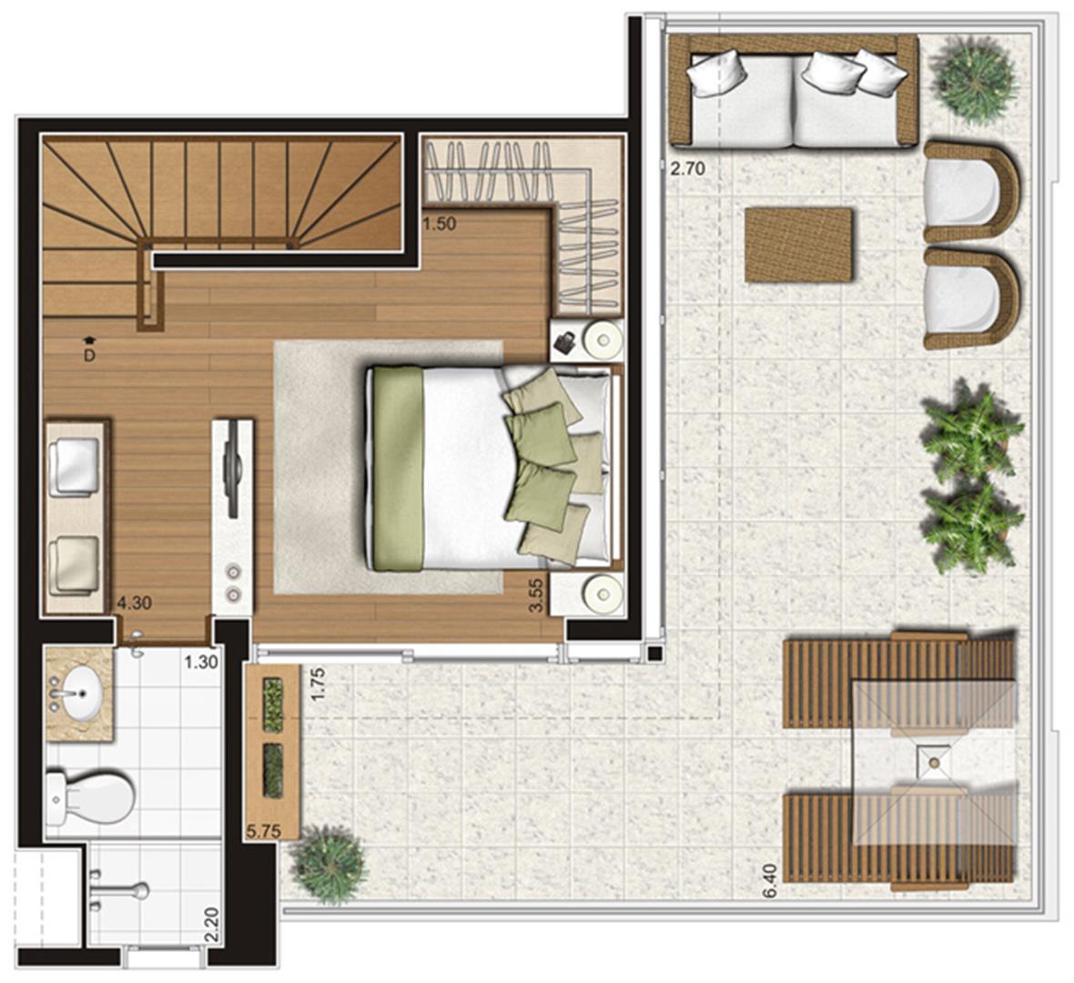 Planta-tipo do pavimento superior do apartamento duplex de 95 m² privativos, finais 5 e 10 | Tempo Bello – Apartamento no  Campo Belo - São Paulo - São Paulo