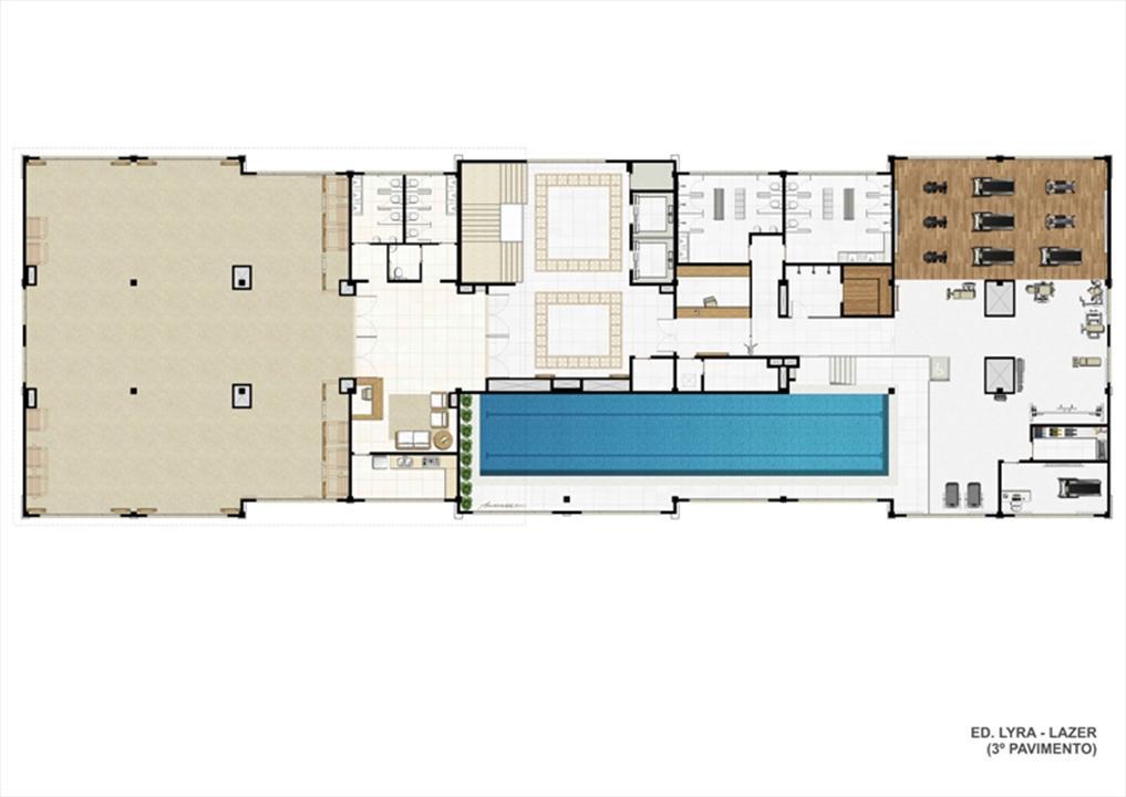 Planta ilustrativa Ed. Lyra - Lazer (3º pavimento)  | Universe Empresarial – Salas Comerciaisna  Barra da Tijuca - Rio de Janeiro - Rio de Janeiro
