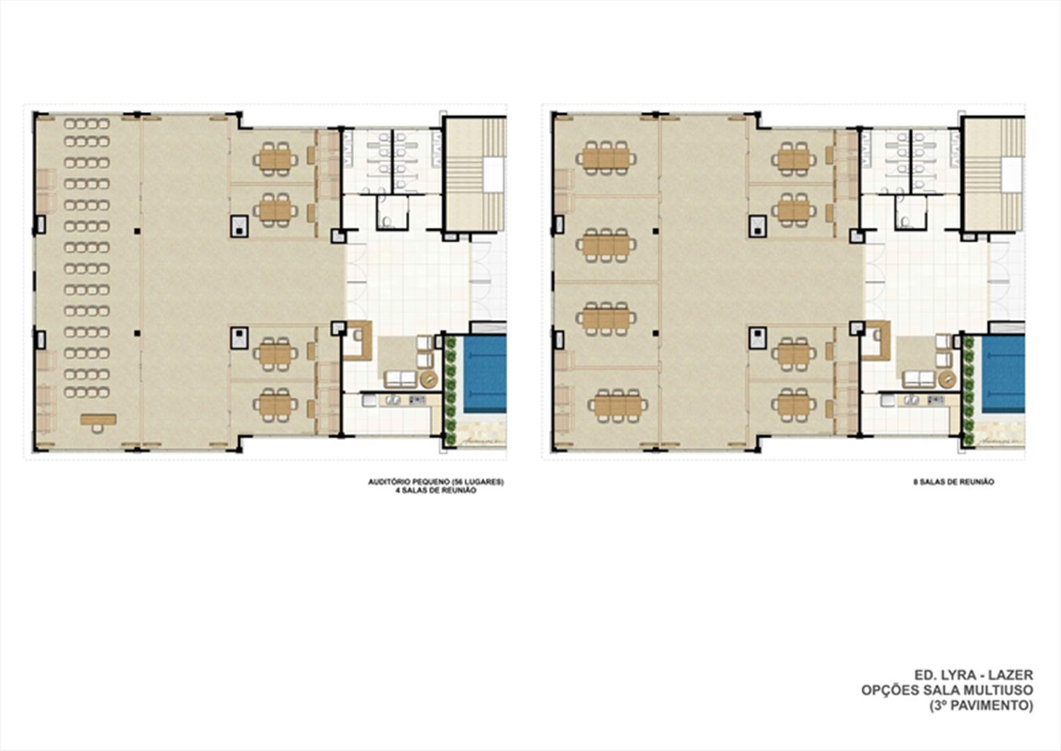Planta ilustrativa Ed. Lyra - Lazer. Opções sala multiuso (3º pavimento)  (2) | Universe Empresarial – Salas Comerciais na  Barra da Tijuca - Rio de Janeiro - Rio de Janeiro