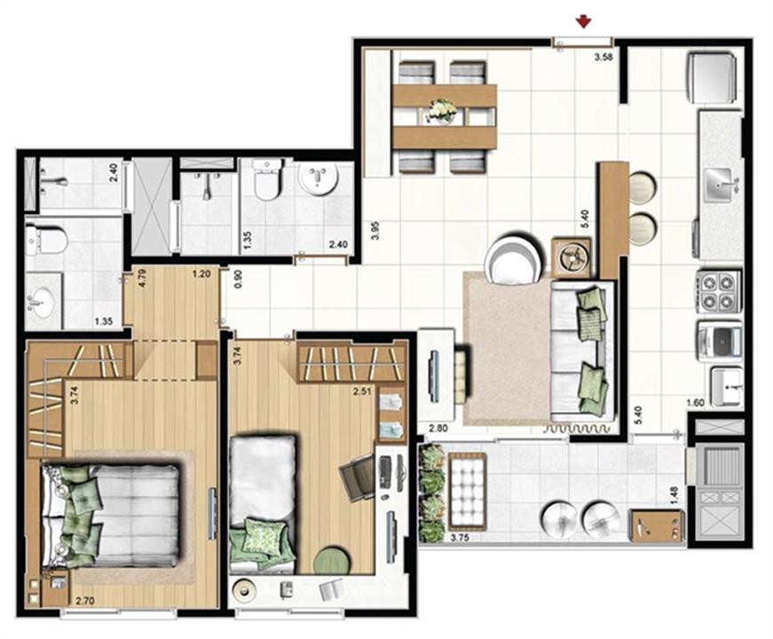 Opção living estendido - 71 m² privativos - Torres Aquamar, Altavista e Ultramare | Cennario Santa Catarina – Apartamentona  Praia Comprida - São José - Santa Catarina