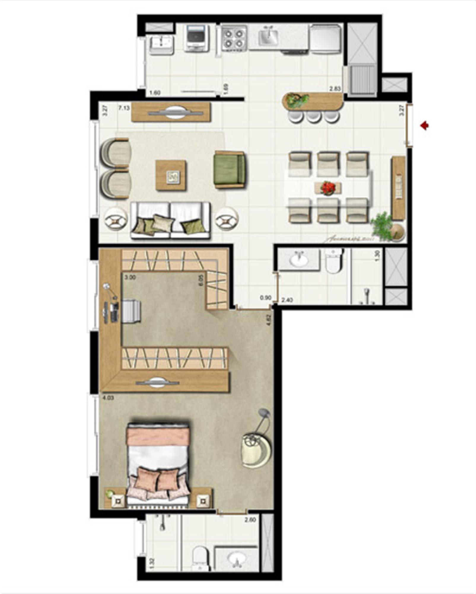 1 suíte - Opção Suíte Master 75 m² privativos - 118 m² de área total | Riserva Anita – Apartamentona  Boa Vista - Porto Alegre - Rio Grande do Sul