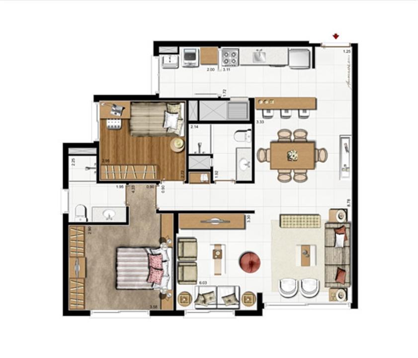 2 dorms. com suíte – Opção living estendido 87 m² privativos - 137 m² de  área total | Riserva Anita – Apartamentona  Boa Vista - Porto Alegre - Rio Grande do Sul