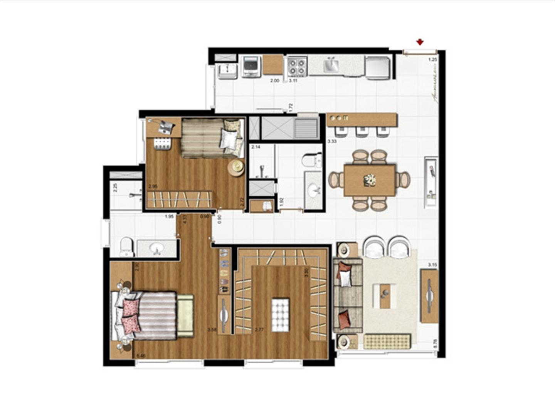 2 dorms. com suíte – Opção Suíte Master 87 m² privativos - 137 m² de  área total | Riserva Anita – Apartamento na  Boa Vista - Porto Alegre - Rio Grande do Sul