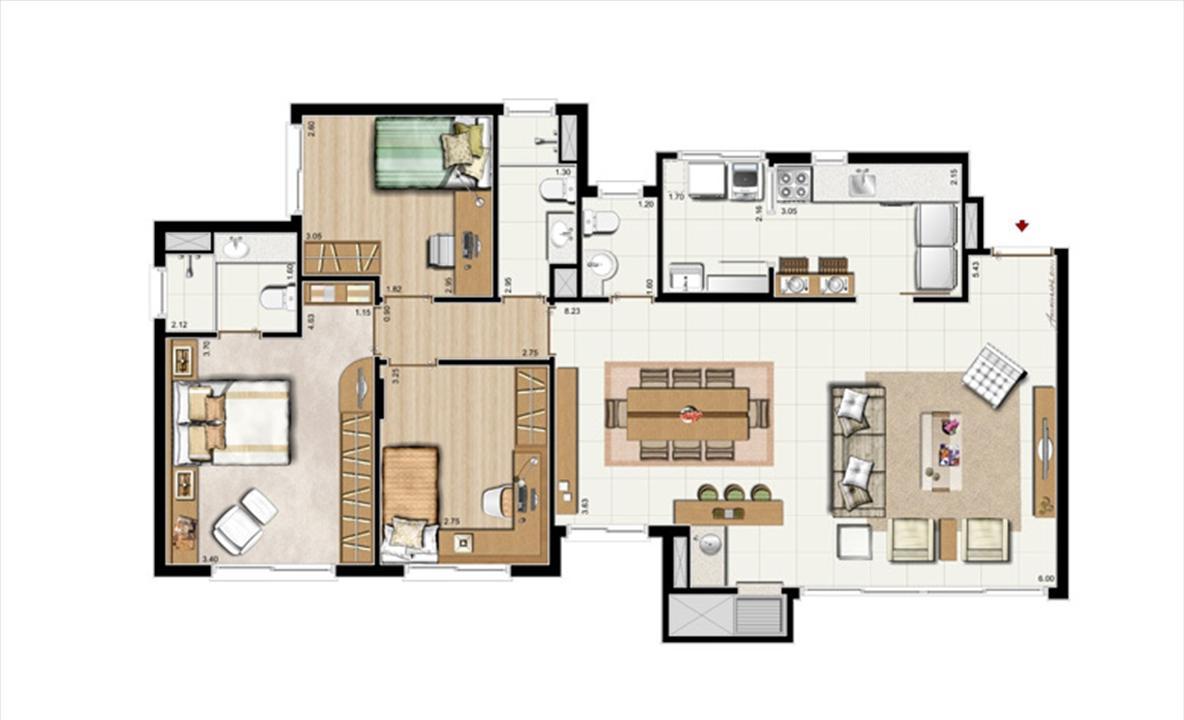 3 dorms. com suíte + Lavabo – Opção living estendido 107 m² privativos - 168 m² de área Total | Riserva Anita – Apartamentona  Boa Vista - Porto Alegre - Rio Grande do Sul