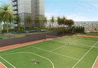 Perspectiva ilustrativa da quadra de tênis e da quadra poliesportiva