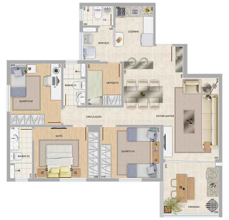 Perspectiva ilustrativa do apartamento tipo Mirante | Condomínio Varandas da Serra – Apartamentona  Serra - Belo Horizonte - Minas Gerais