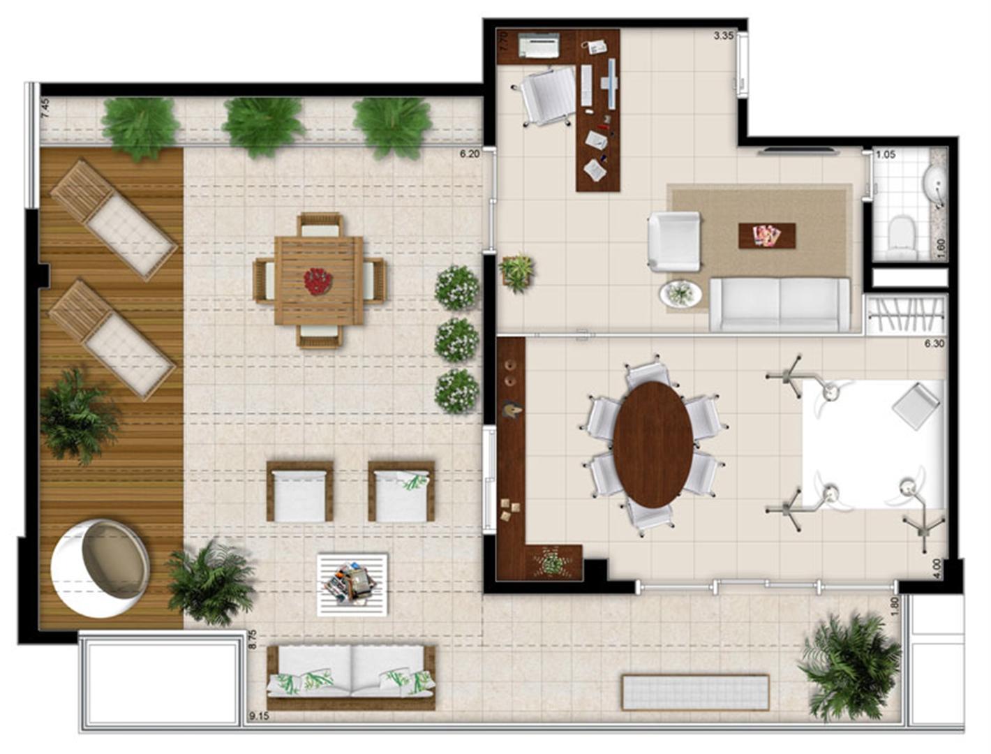 Planta - Tipo ilustrada da cobertura de 113 m² | Escritórios Design – Salas Comerciais no  Cambuí - Campinas - São Paulo