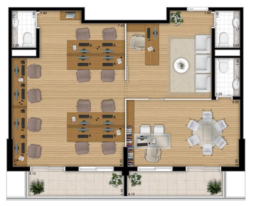 Planta - tipo ilustrada da opção junção 80 m² | Escritórios Design – Salas Comerciaisno  Cambuí - Campinas - São Paulo