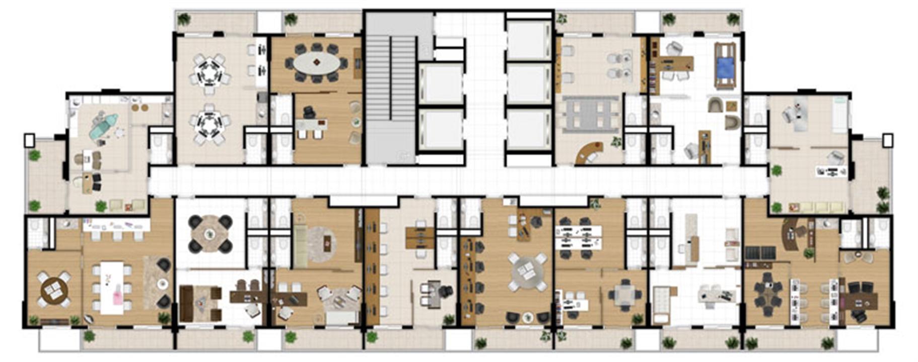 Planta - Tipo ilustrada do pavimento | Escritórios Design – Salas Comerciaisno  Cambuí - Campinas - São Paulo