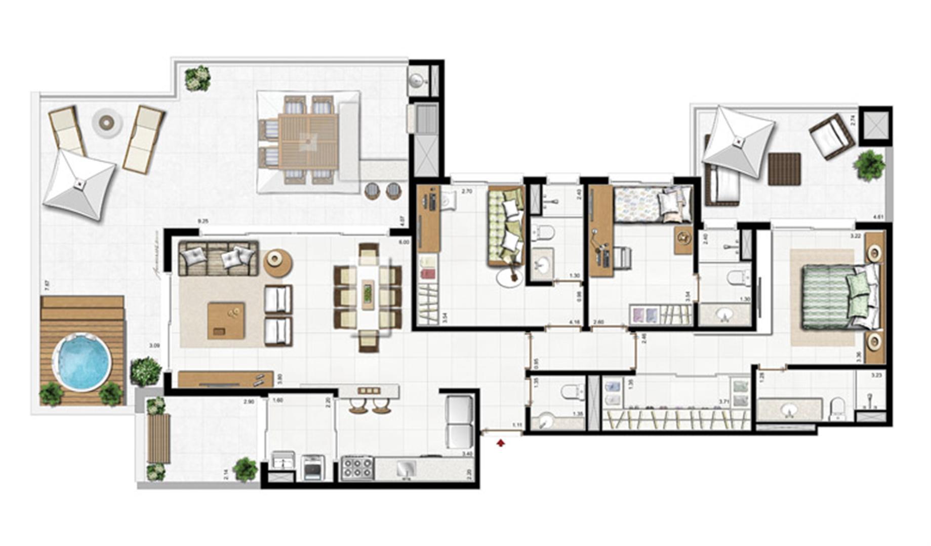 2 dorm com suíte   Planta padrão  78 m² privativos 115 m² de área total  | Visionnaire – Apartamento no  Abraão - Florianópolis - Santa Catarina
