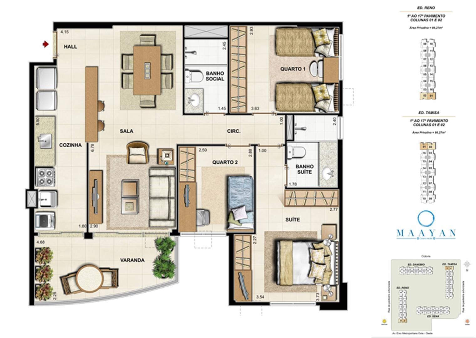 Planta tipo 3 quartos - Colunas 01 e 02 - Ed. Reno e Tamisa | Maayan – Apartamento no  Cidade Jardim - Rio de Janeiro - Rio de Janeiro