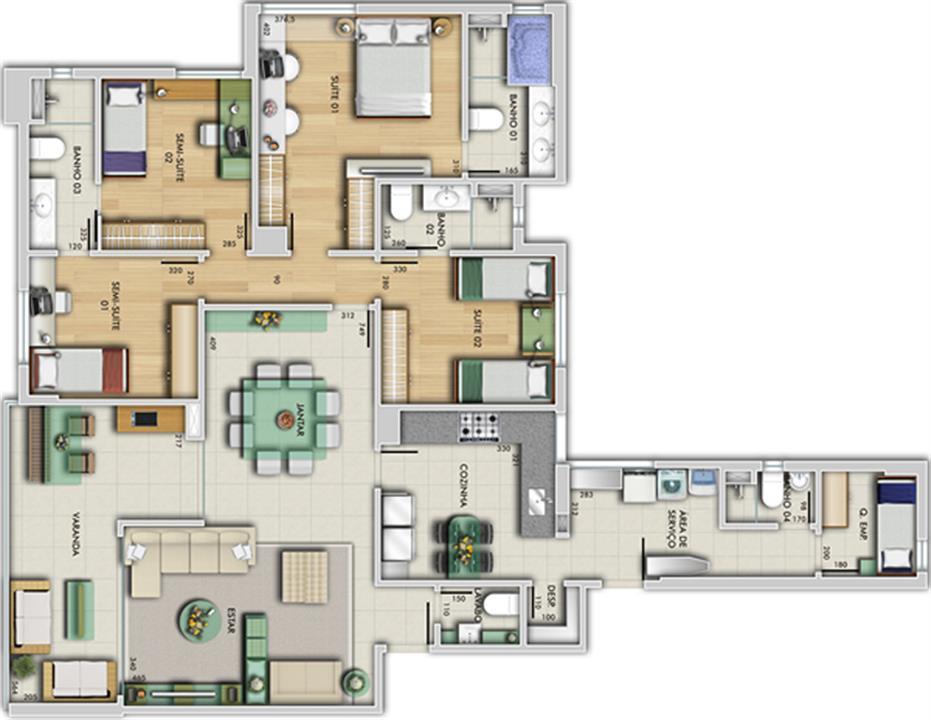 Perspectiva ilustrativa do apartamento tipo - Vila Rica | Grand Lider Felipe dos Santos – Apartamentoem  Lourdes - Belo Horizonte - Minas Gerais