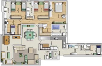 Perspectiva ilustrativa do apartamento tipo - Porto Real | Grand Lider Felipe dos Santos – Apartamento em  Lourdes - Belo Horizonte - Minas Gerais