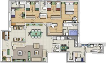 Perspectiva ilustrativa do apartamento tipo - Paço Imperial | Grand Lider Felipe dos Santos – Apartamento em  Lourdes - Belo Horizonte - Minas Gerais