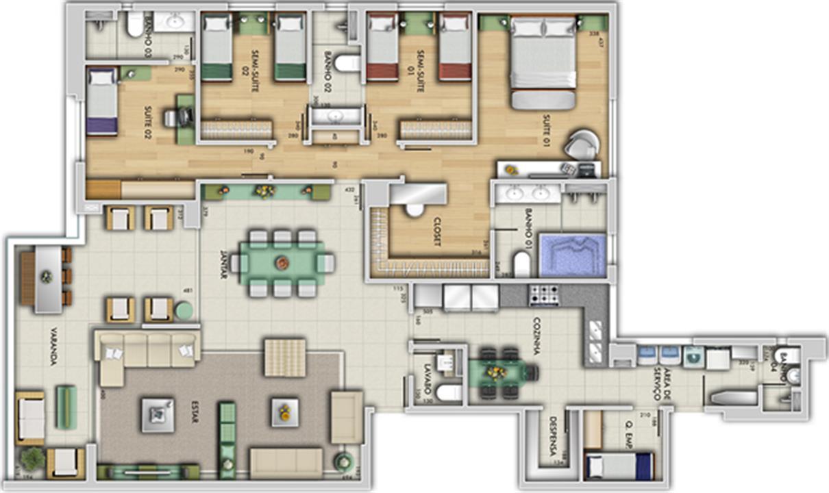 Perspectiva ilustrativa do apartamento tipo - Paço Imperial | Grand Lider Felipe dos Santos – Apartamentoem  Lourdes - Belo Horizonte - Minas Gerais