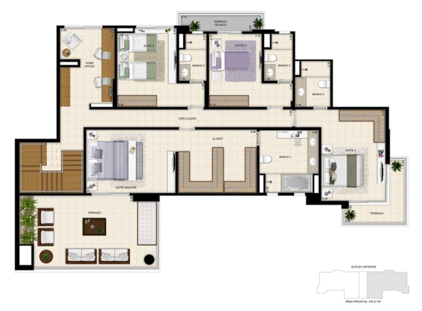 Planta tipo ilustrada do Duplex de 378m² Pavimento inferior | 395 Place – Apartamento em  Umarizal  - Belém - Pará