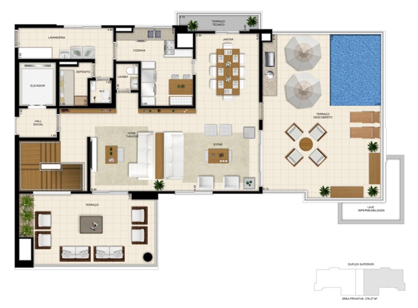 Planta tipo ilustrada do Duplex de 378m² Pavimento Superior | 395 Place – Apartamento em  Umarizal  - Belém - Pará