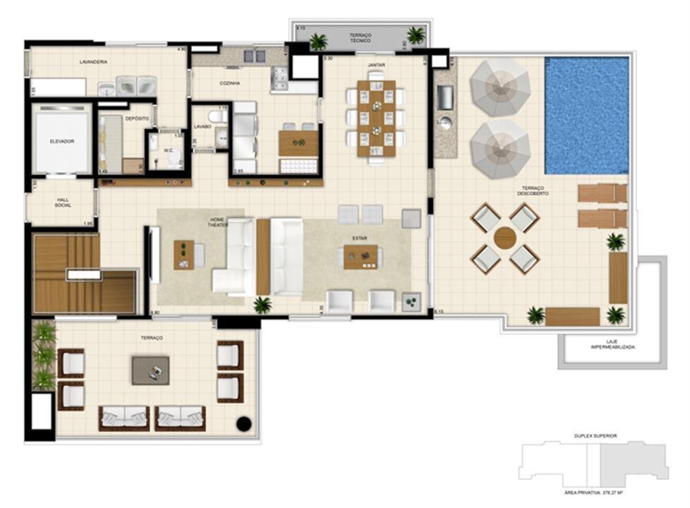 Planta tipo ilustrada do Duplex de 378m² Pavimento Superior | 395 Place – Apartamentoem  Umarizal  - Belém - Pará