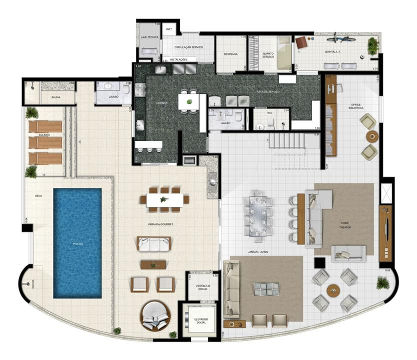 Duplex Inferior | Diamond LifeStyle – Apartamentono  Jardim Goiás - Goiânia - Goiás