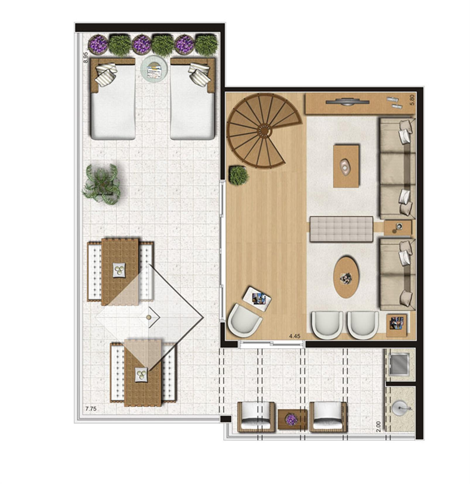 Planta ilustrada do pavimento superior do duplex de 137 m² | Emirado – Apartamentono  Boqueirão - Santos - São Paulo