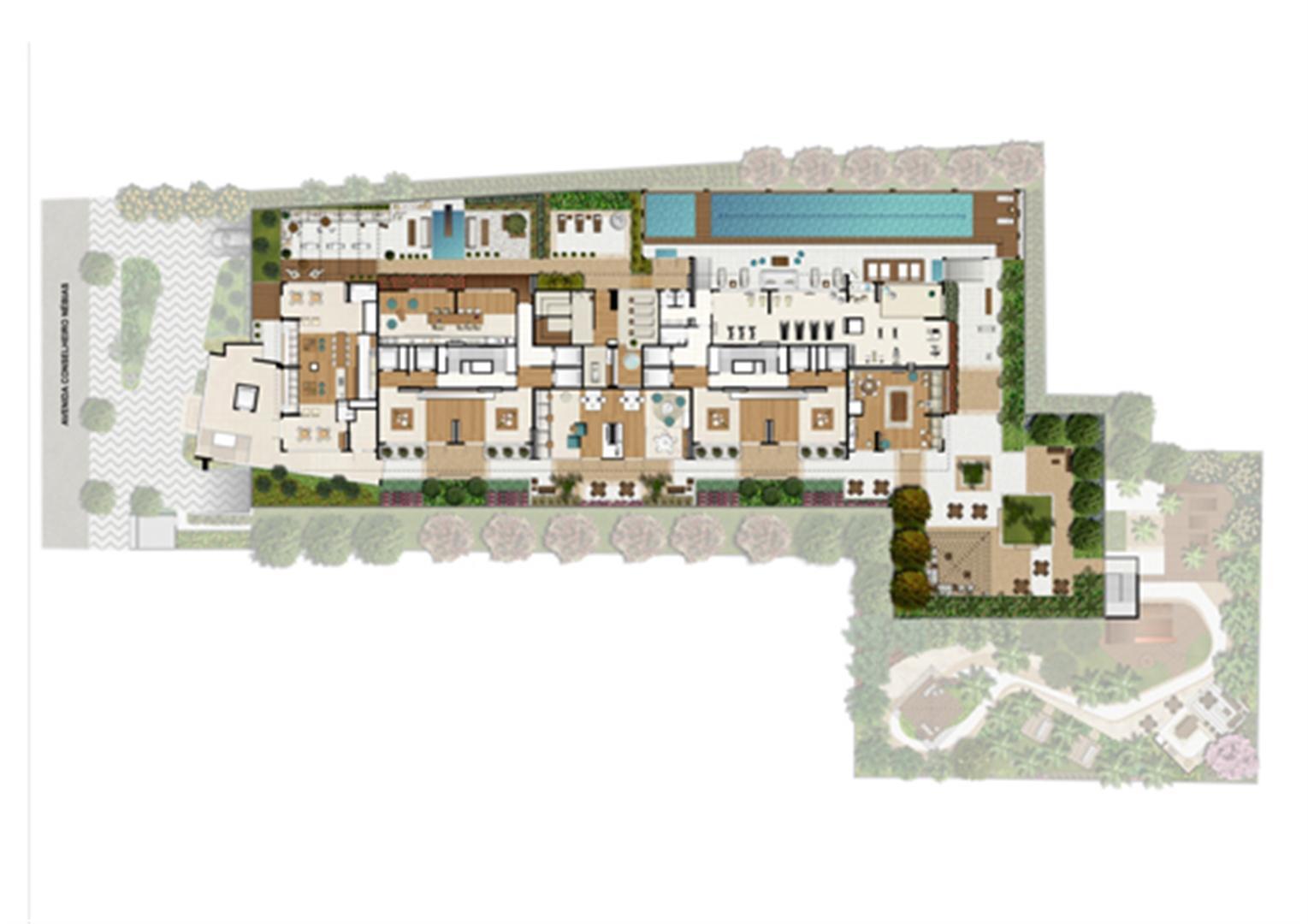 Ilustração Artística da Implantação - 6º Pavimento | Emirado – Apartamento no  Boqueirão - Santos - São Paulo