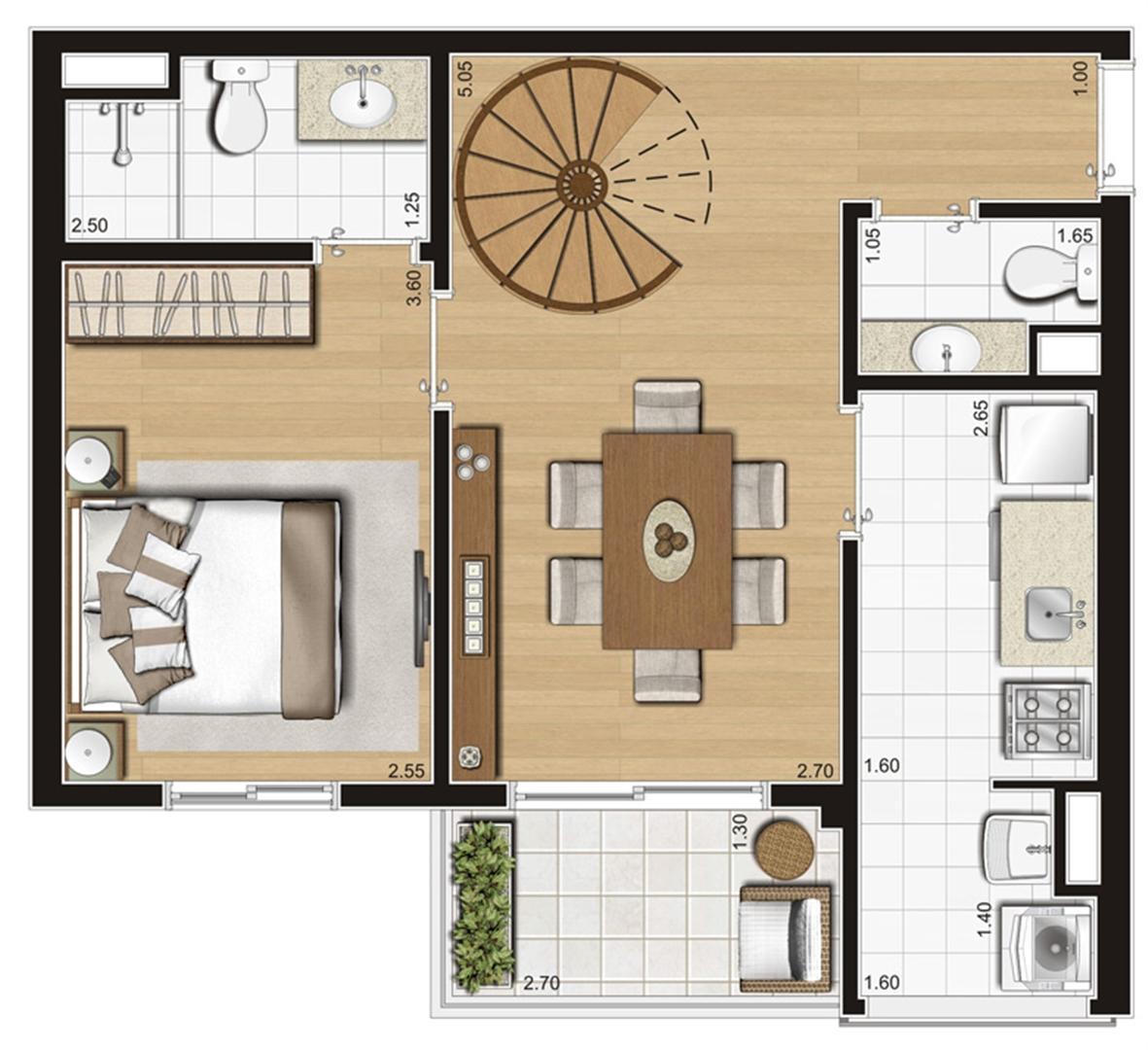 Planta ilustrada do pavimento inferior do duplex de 93 m² | Emirado – Apartamento no  Boqueirão - Santos - São Paulo