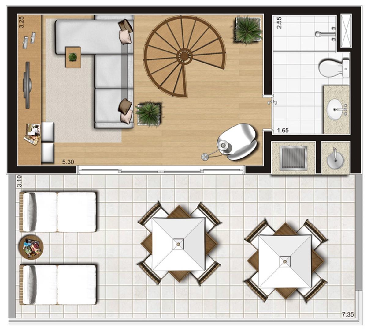 Planta ilustrada do pavimento superior do duplex de 93 m² | Emirado – Apartamento no  Boqueirão - Santos - São Paulo
