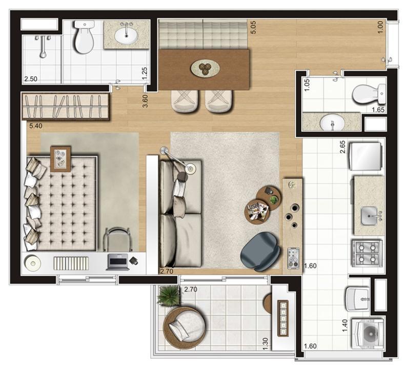 Planta ilustrada opção de 47 m² | Emirado – Apartamentono  Boqueirão - Santos - São Paulo