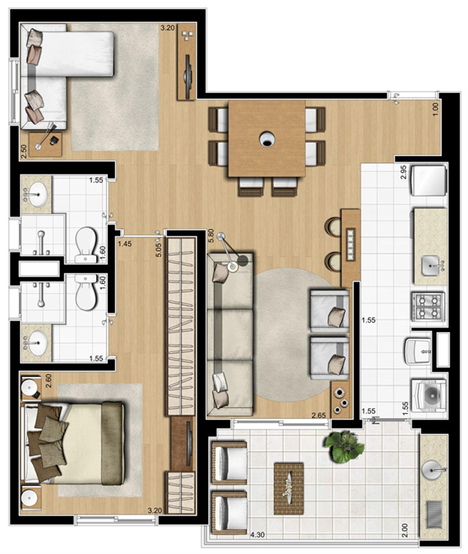 Planta ilustrada opção de 70 m² | Emirado – Apartamentono  Boqueirão - Santos - São Paulo