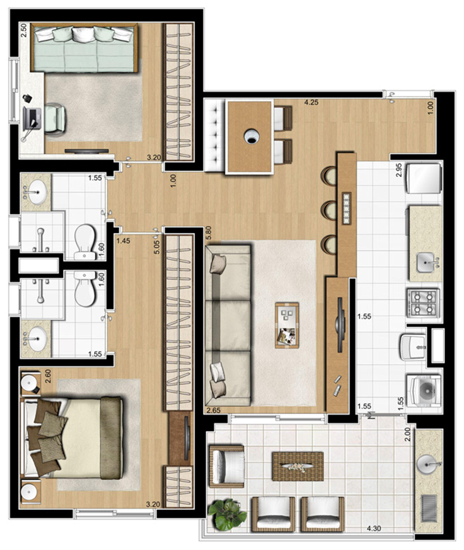 Planta ilustrada tipo de 70 m² | Emirado – Apartamento no  Boqueirão - Santos - São Paulo