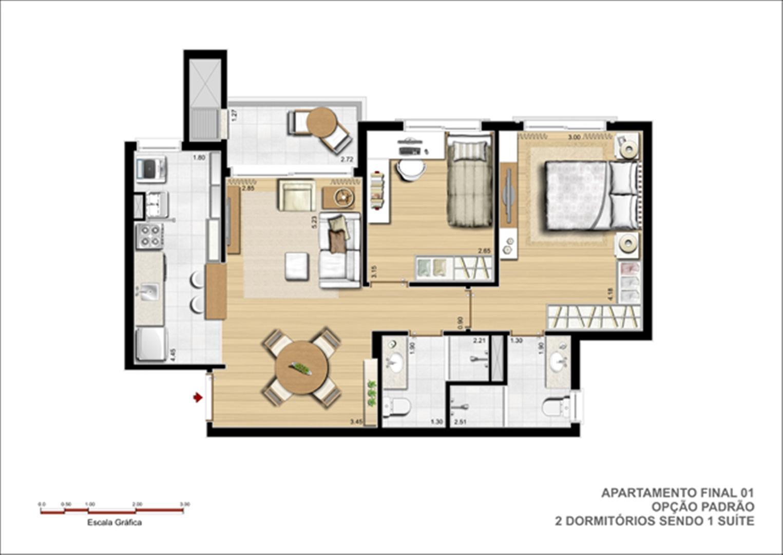 Planta tipo do apto. de 2 dormitórios com suíte  | Jardins Novo Higienópolis – Apartamento no  Higienópolis - Porto Alegre - Rio Grande do Sul