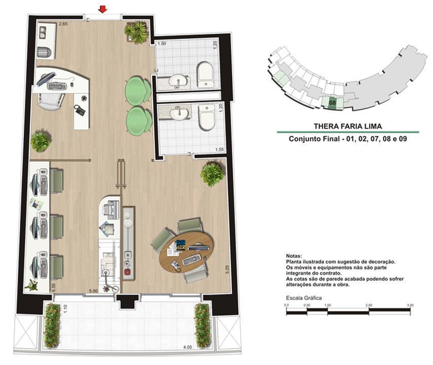 Planta Escritório de 40 m²   Studio de Design | Thera Faria Lima Pinheiros Office – Salas Comerciaisem  Pinheiros - São Paulo - São Paulo