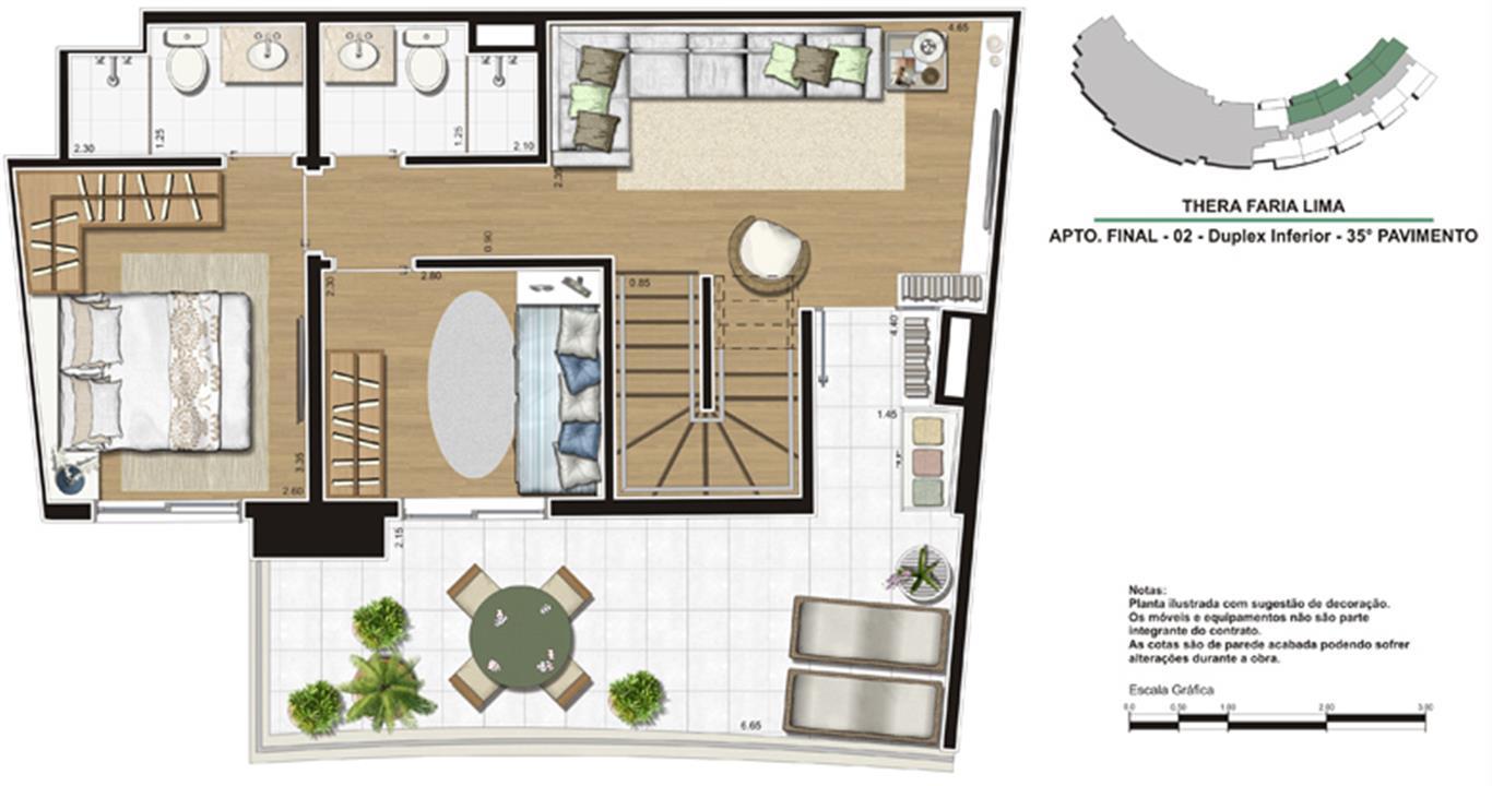 Planta de 138m² - Duplex inferior | Thera Faria Lima Pinheiros Residence – Apartamentoem  Pinheiros - São Paulo - São Paulo