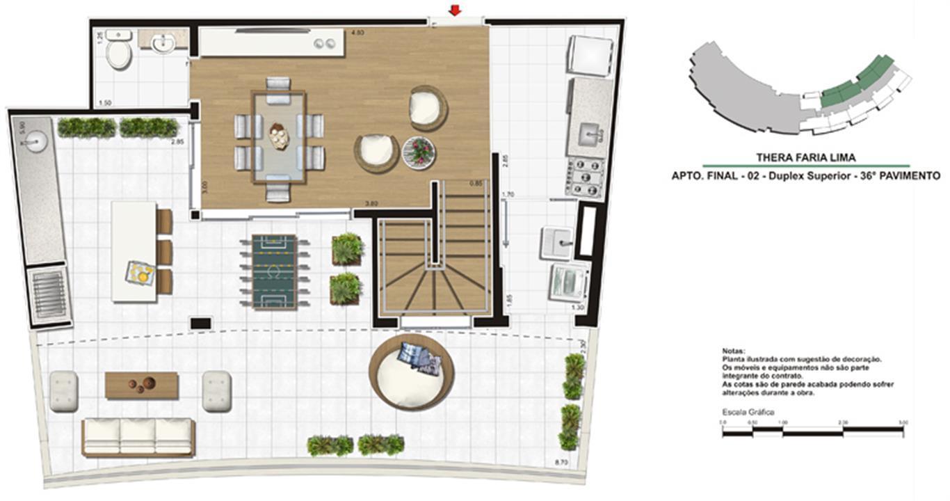 Planta de 138m² - Duplex superior | Thera Faria Lima Pinheiros Residence – Apartamentoem  Pinheiros - São Paulo - São Paulo