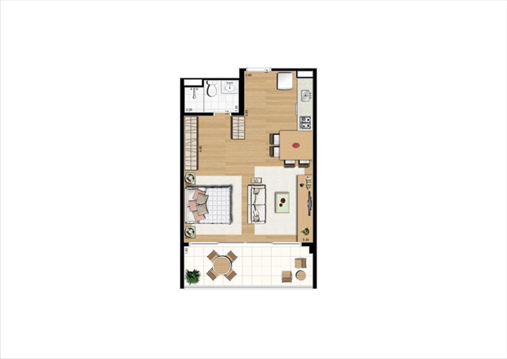 Planta studio inteligente de 48 m² - 2º ao 8º pavimento, finais 2 e 9 | Home Boutique – Apartamentono  Brooklin - São Paulo - São Paulo