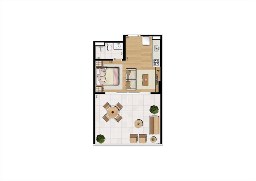 Planta studio inteligente de 48 m² - 9º pavimento, finais 2 e 9 | Home Boutique – Apartamentono  Brooklin - São Paulo - São Paulo