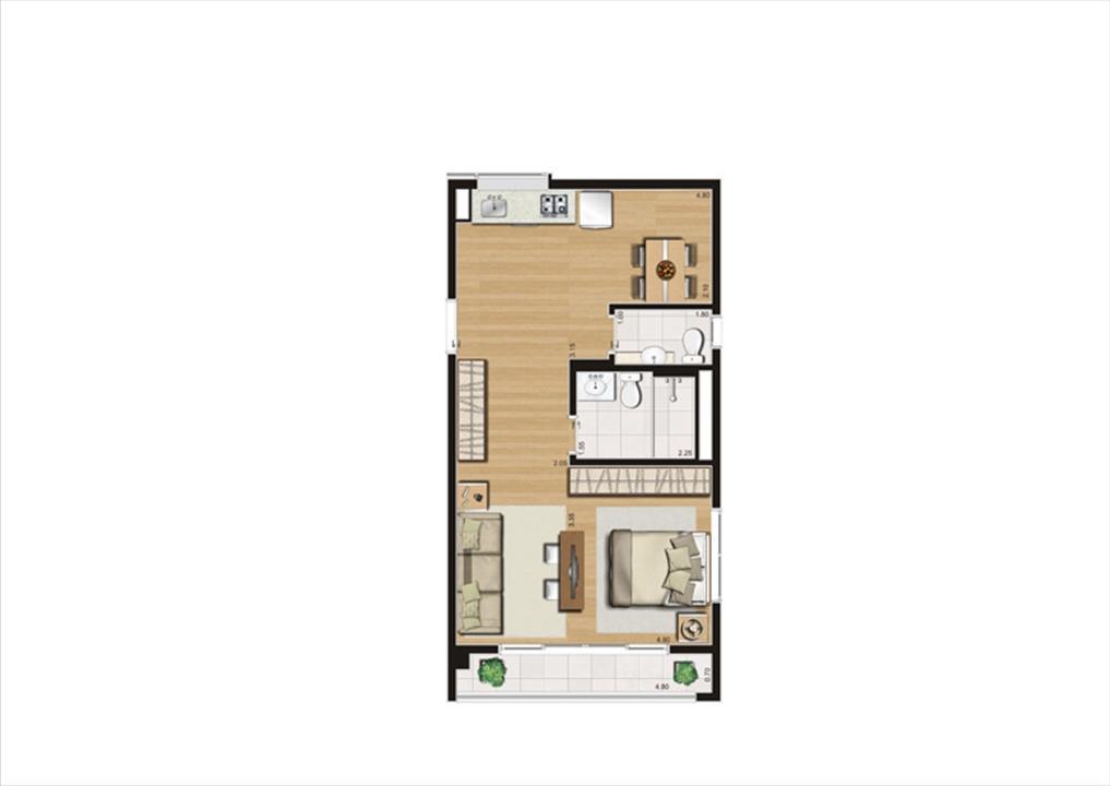 Planta studio inteligente de 50 m² | Home Boutique – Apartamentono  Brooklin - São Paulo - São Paulo