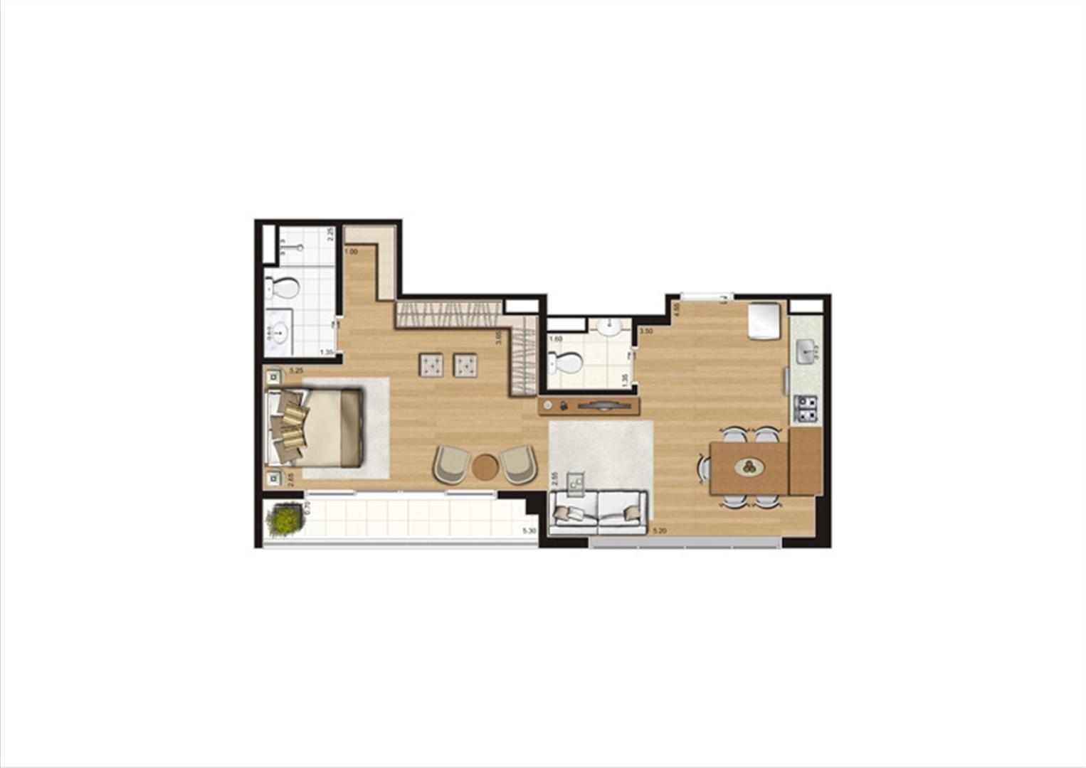 Planta studio inteligente de 56 m² | Home Boutique – Apartamento no  Brooklin - São Paulo - São Paulo