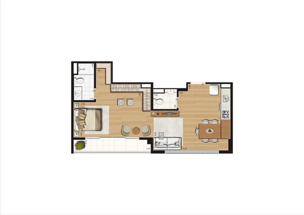 Planta studio inteligente de 56 m² | Home Boutique – Apartamentono  Brooklin - São Paulo - São Paulo