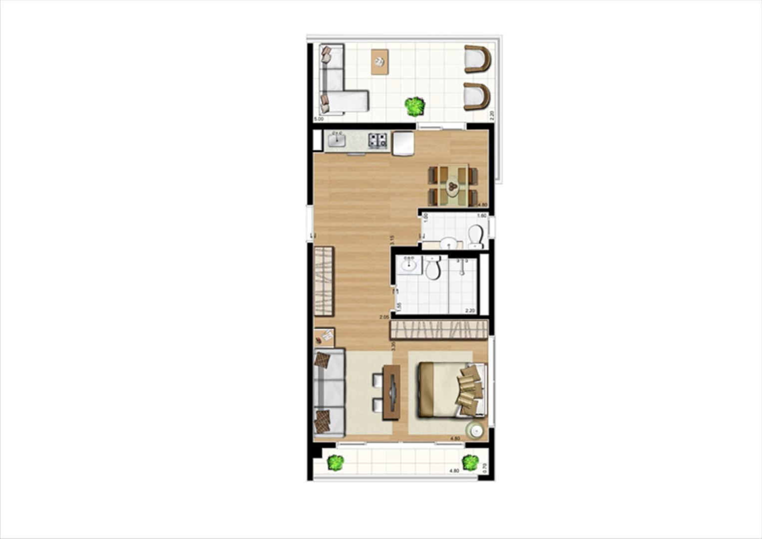 Planta studio inteligente de 63 m² | Home Boutique – Apartamento no  Brooklin - São Paulo - São Paulo