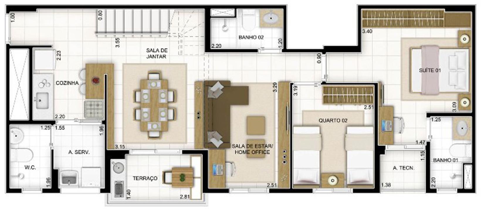Duplex Andar Inferior 2 quartos Sala Ampliada 159 m² | Quartier Lagoa Nova – Apartamentona  Lagoa Nova - Natal - Rio Grande do Norte