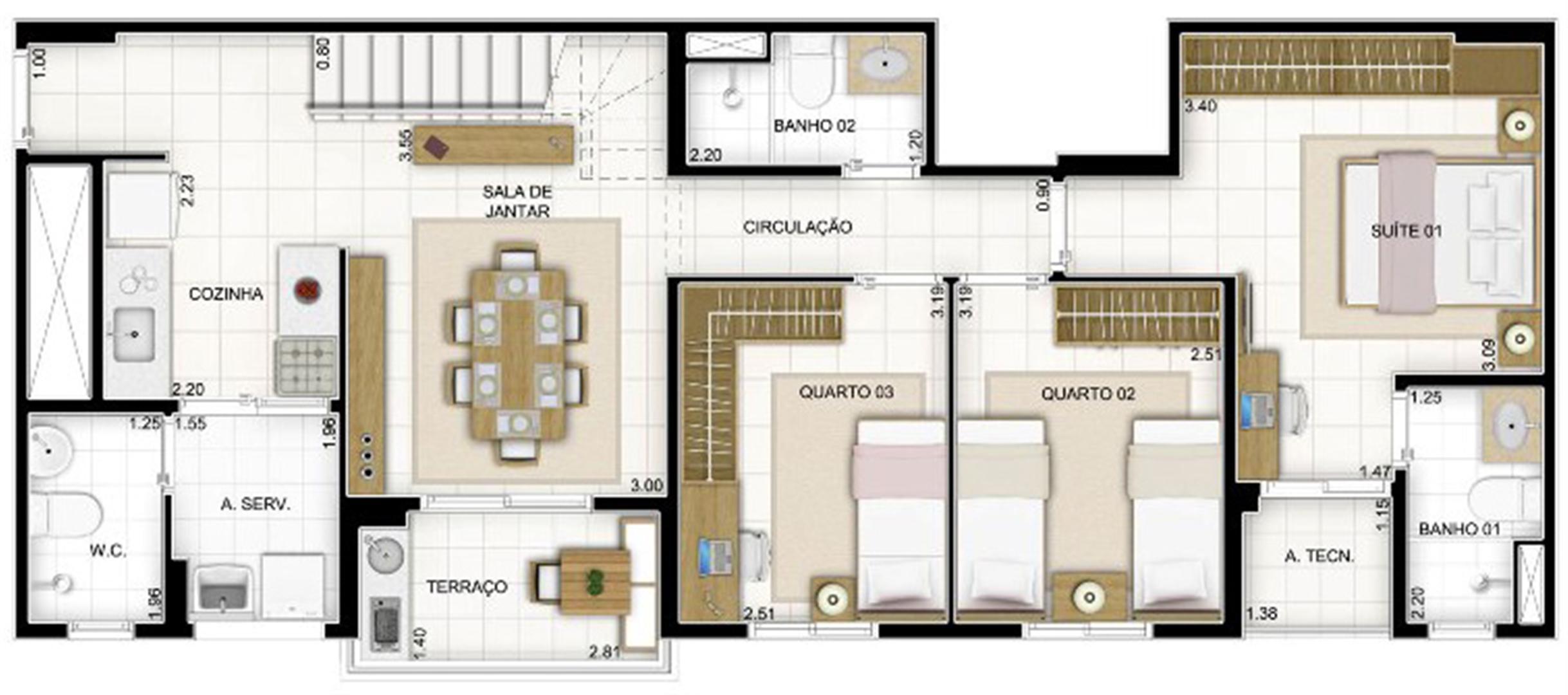 Duplex Andar Inferior 3 quartos 159 m² | Quartier Lagoa Nova – Apartamento na  Lagoa Nova - Natal - Rio Grande do Norte