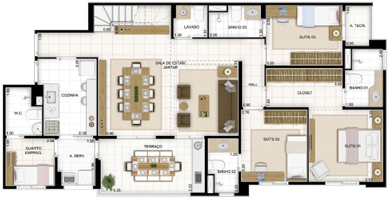 Duplex Andar Inferior 3 quartos Sala Ampliada 236 m² | Quartier Lagoa Nova – Apartamentona  Lagoa Nova - Natal - Rio Grande do Norte