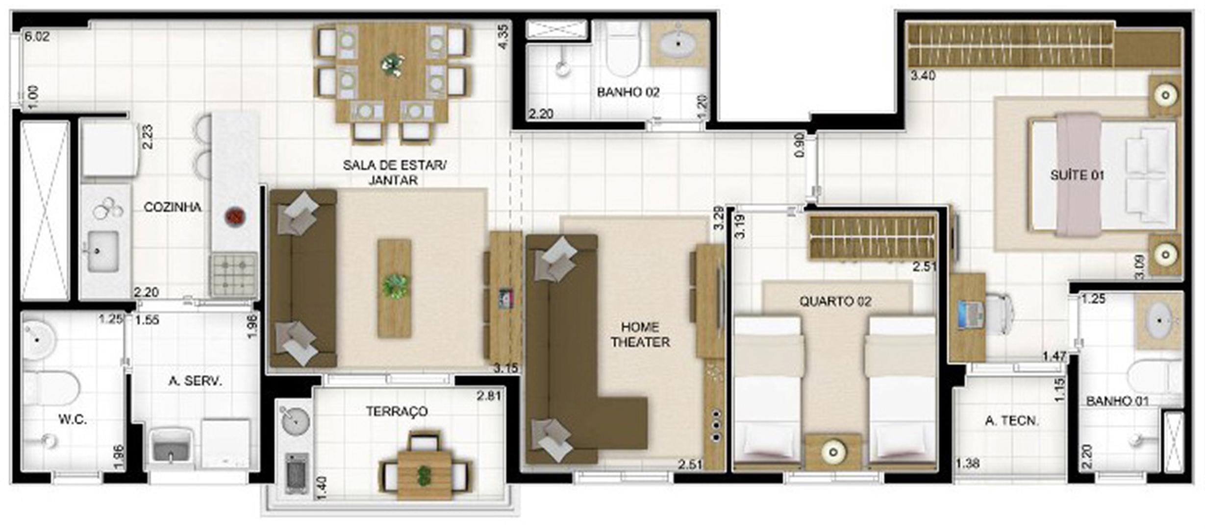 Planta 3 quartos Sala Ampliada | Quartier Lagoa Nova – Apartamento na  Lagoa Nova - Natal - Rio Grande do Norte