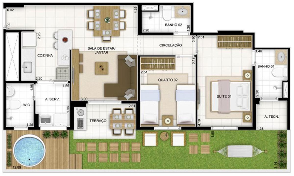 Planta Tipo 3 quartos 81 m² | Quartier Lagoa Nova – Apartamentona  Lagoa Nova - Natal - Rio Grande do Norte