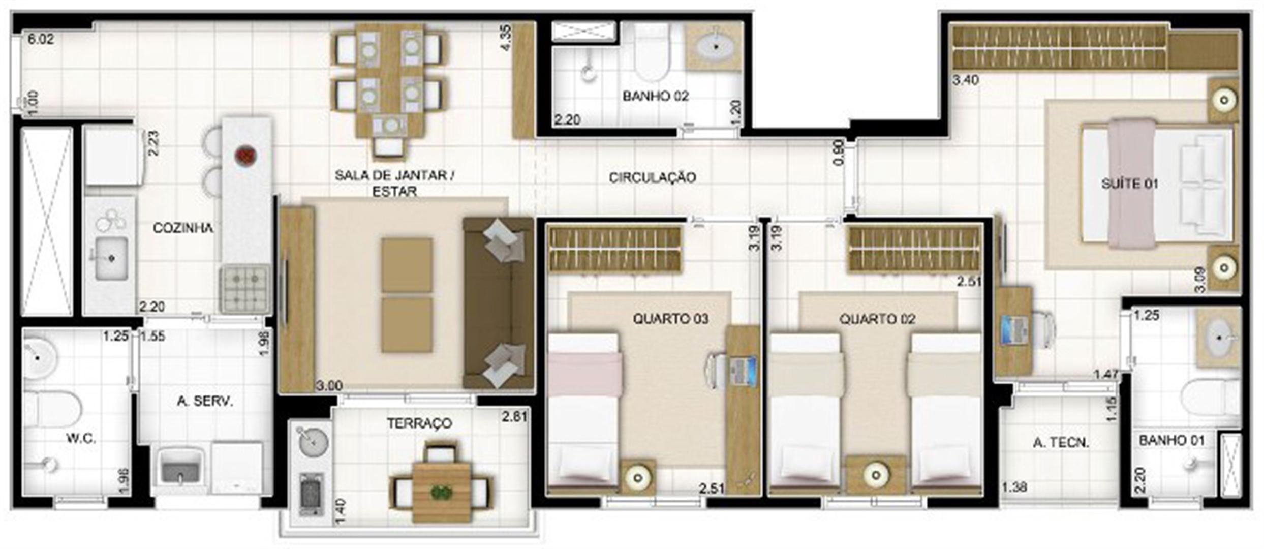 Planta Tipo 3 quartos 81 m² | Quartier Lagoa Nova – Apartamento na  Lagoa Nova - Natal - Rio Grande do Norte