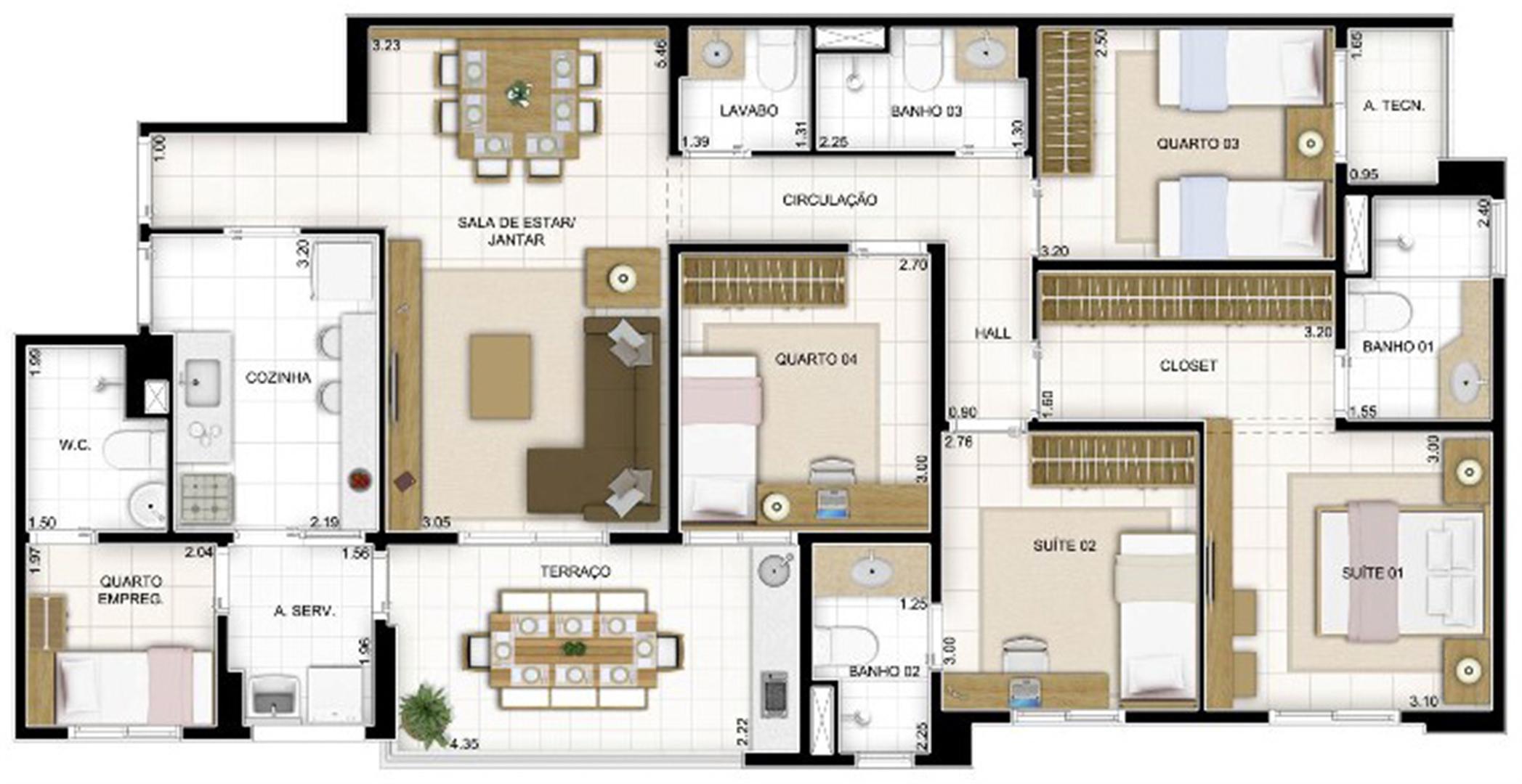 Planta Tipo 4 quartos 119 m² | Quartier Lagoa Nova – Apartamento na  Lagoa Nova - Natal - Rio Grande do Norte